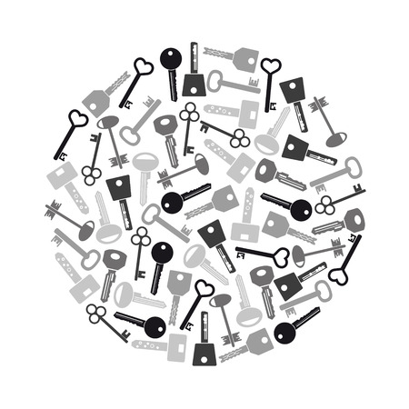 gray scale: various gray scale keys symbols for open a lock