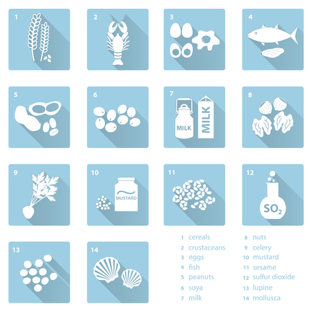 allergens: set of typical food allergens for restaurants and meal flat blue icons