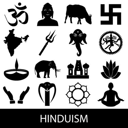 hinduism: Hinduismo religiones s�mbolos conjunto de iconos Vectores