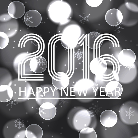 gray scale: happy new year 2016 on gray scale bokeh circle background