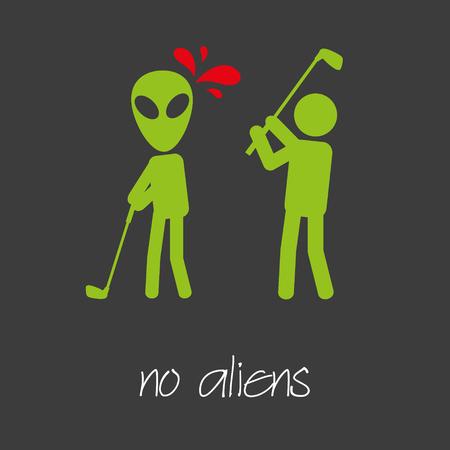 killing: killing alien golf sport design banner and background