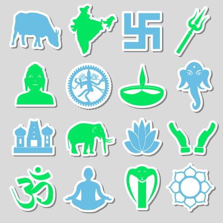 hinduism: hinduism religions symbols vector set of stickers