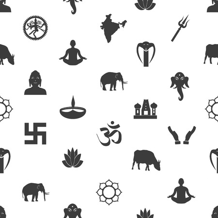 god's cow: hinduism religions symbols gray seamless pattern