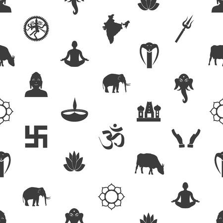 hinduismo: hinduismo religiones símbolos patrón transparente gris