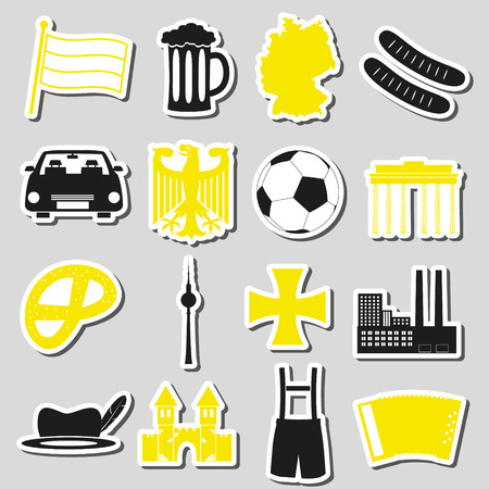cross and eagle: germany country theme symbols stickers set