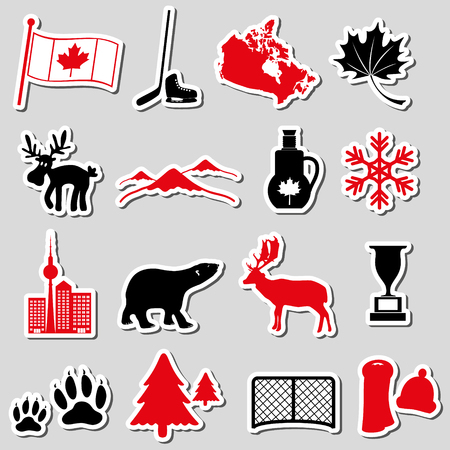 canada country: canada country theme symbols stickers set Illustration