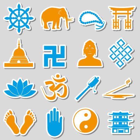 buddhism: buddhism religions symbols vector set of stickers