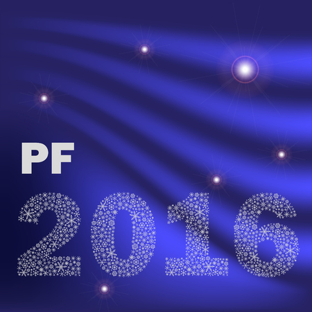 pf: blue shiny abstract happy new year pf 2016 from little snowflakes