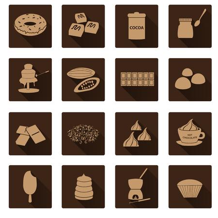 chocolate truffle: brown chocolate simple flat shadow icons set Illustration