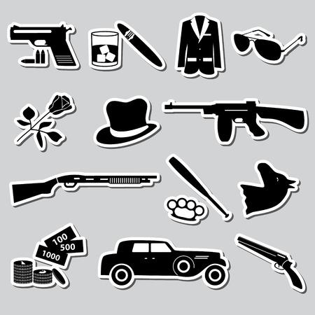 criminal: mafia criminal black symbols and stickers set