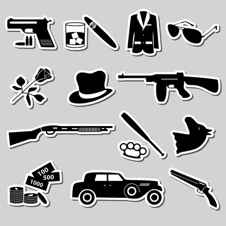 mafia criminal black symbols and stickers set