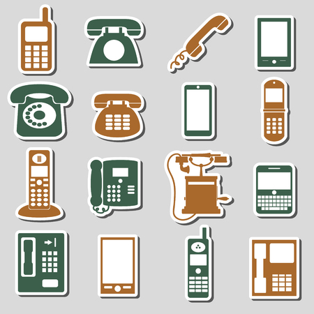 cell phone booth: various phone symbols and icons stickers set