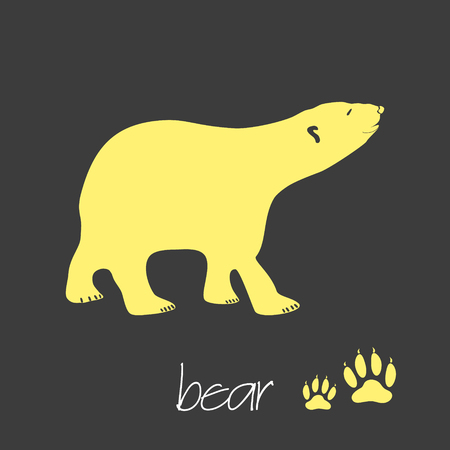 green footprint: polar bear animal symbol simple banner