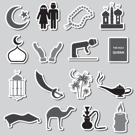 watter: islamic religion simple black stickers set Illustration