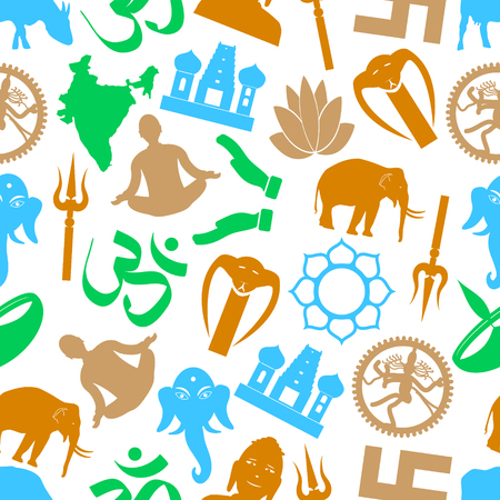 god's cow: hinduism religions symbols vector seamless color pattern eps10
