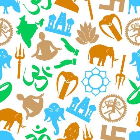 hinduism: hinduismo religiones s�mbolos vector de color sin patr�n eps10 Vectores