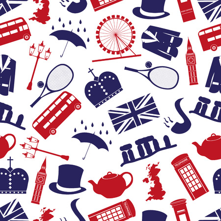 great: United Kingdom country theme symbols seamless pattern eps10