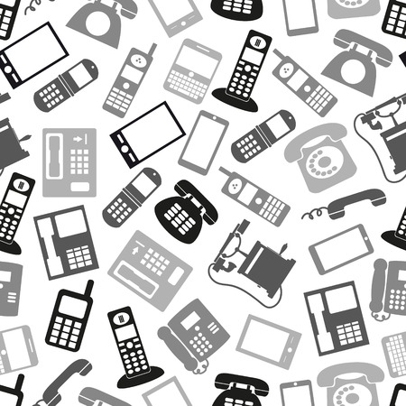 cell phone booth: various grayscale phone symbols and icons seamless pattern eps10
