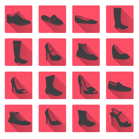 red boots: boots and shoes red and gray flat icons