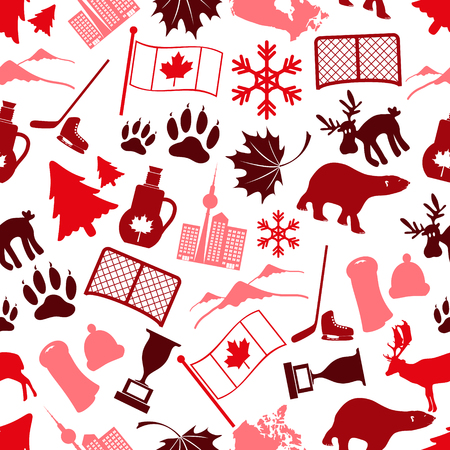 canada country: canada country theme symbols icone seamless pattern eps10 Illustration