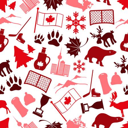 sirup: canada country theme symbols icone seamless pattern eps10 Illustration