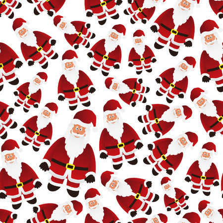 legends folklore: colorful cartoon Santa Claus with red outfit seamless pattern  Illustration