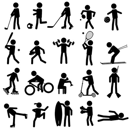 healty lifestyle: sport silhouettes black simple icons set eps10 Illustration