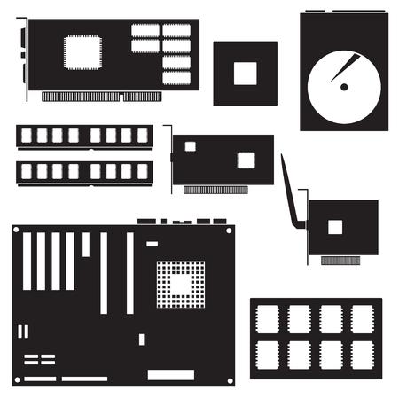 mainboard: internal desktop computer components black symbols  Illustration