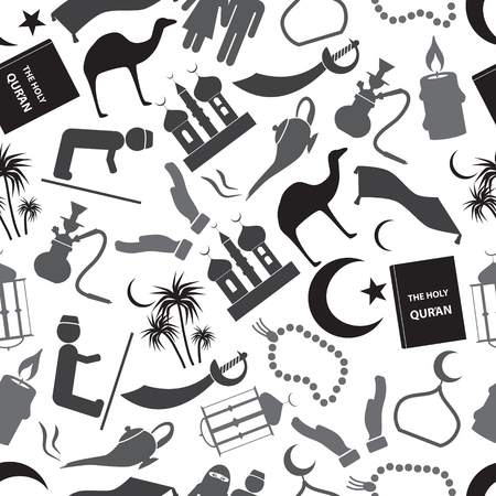 watter: islamic religion simple gray icons seamless pattern  Illustration
