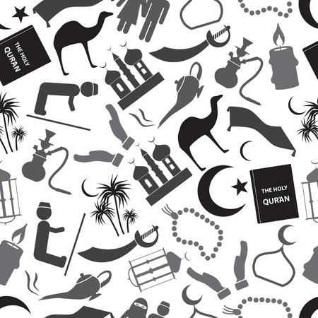 islamic religion simple gray icons seamless pattern  Illustration