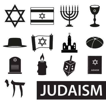 talmud: judaism religion symbols vector set of icons eps10
