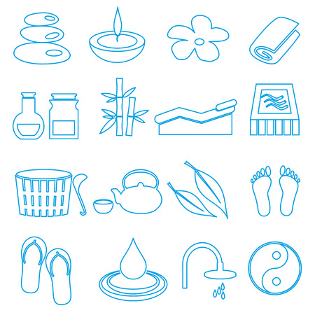 swimming candles: spa and relaxation simple blue outline icons set eps10