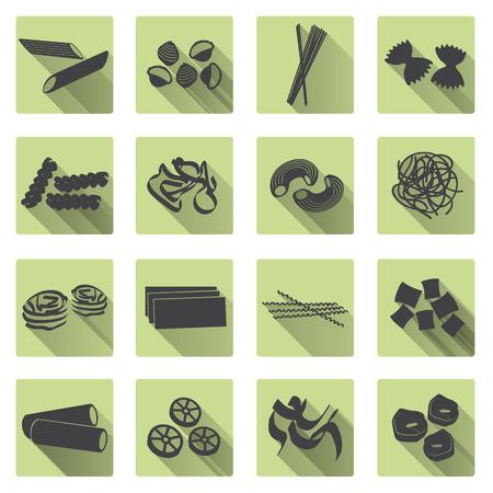 pastas: varios tipos de iconos planos de pasta de color de alimentos establecen eps10 Vectores