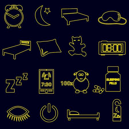 sleeping pills: sleeping time simple outline icons set eps10 Illustration