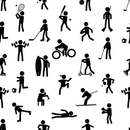 healty lifestyle: sport silhouettes black simple icons seamless pattern eps10
