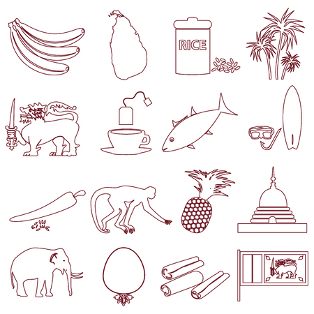 curry rice: Sri-lanka country symbols outline icons set eps10