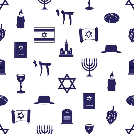 talmud: judaism religion symbols seamless blue pattern