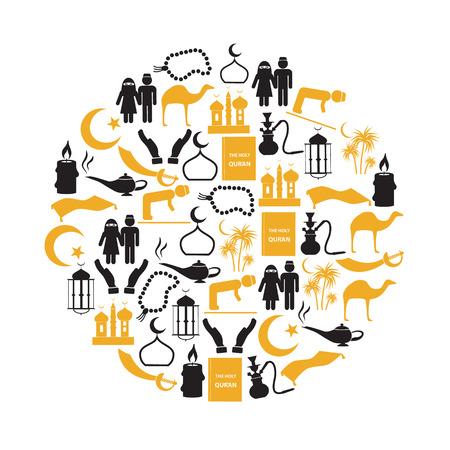 muhammad: islamic religion simple icons set in circle Illustration