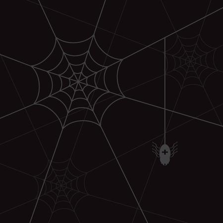 spider web: spider web and little black spider Illustration