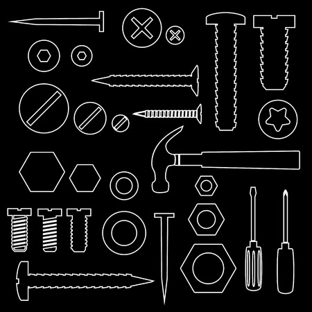 hardware tools: hardware screws and nails with tools outline symbols eps10