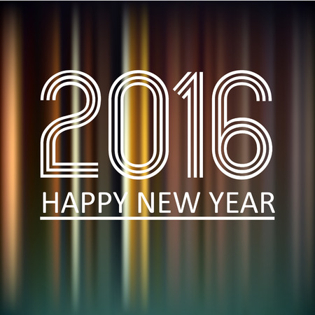 pf: happy new year 2016 on dark color lines background