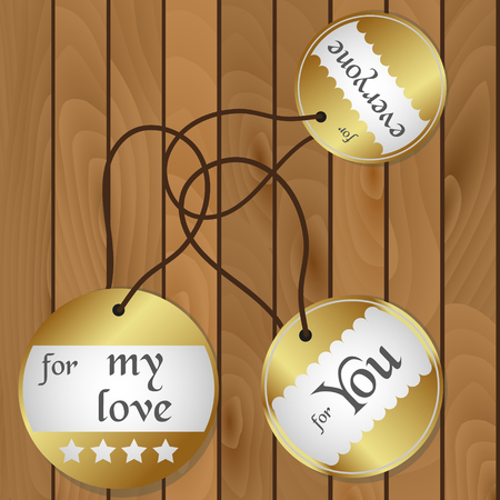 shiny floor: shiny gold gift round tags for gifts on wooden floor