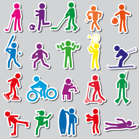 healty lifestyle: sport silhouettes color simple stickers set