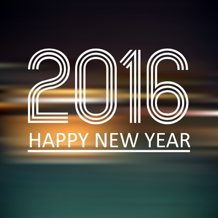 horizontals: happy new year 2016 on dark color horizontal lines background