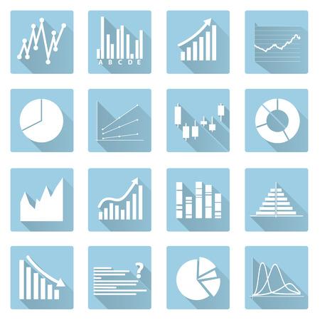 valorization: various symbols of graphs flat blue icons Illustration