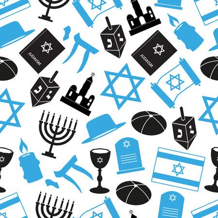 talmud: judaism religion symbol set of icons seamless pattern