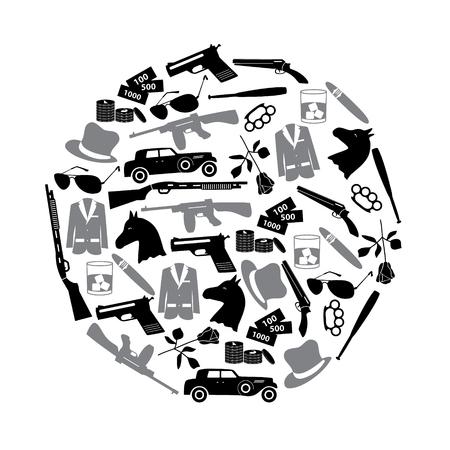 criminal: mafia criminal black symbols and icons in circle Illustration