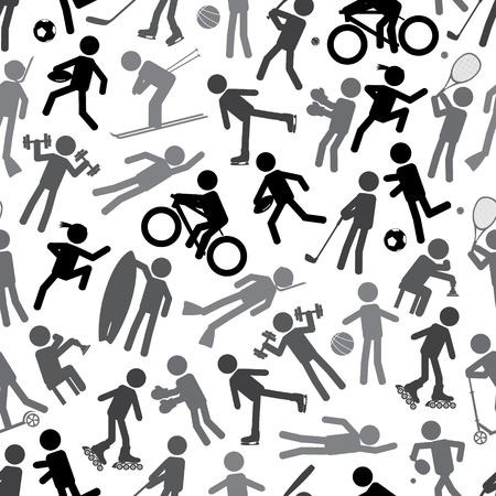 fortalecimiento: Siluetas del deporte de la escala de grises iconos simples patr�n transparente