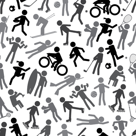 healty lifestyle: sport silhouettes gray-scale simple icons seamless pattern Illustration