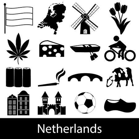 Netherlands country theme symbols icons set eps10